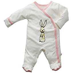 Baby Soy Janey Baby Organic Footie, 0-3M, Rabbit pink - Peony trim