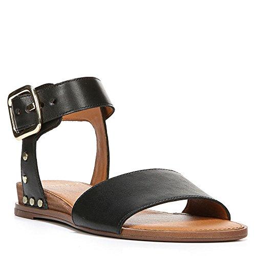 Franco Sarto Donna Parco 2 Sandali Aperti Alla Caviglia Casual In Pelle Con Cinturino Nero In Vacchetta
