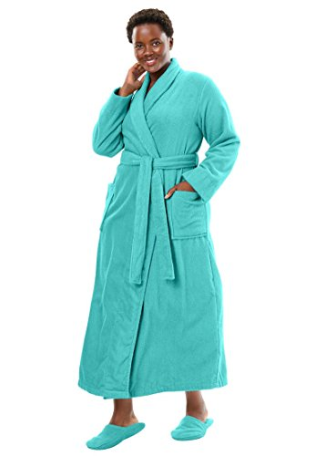 Dreams & Co. Women's Plus Size Long Terry Robe With Free Matching Slippers