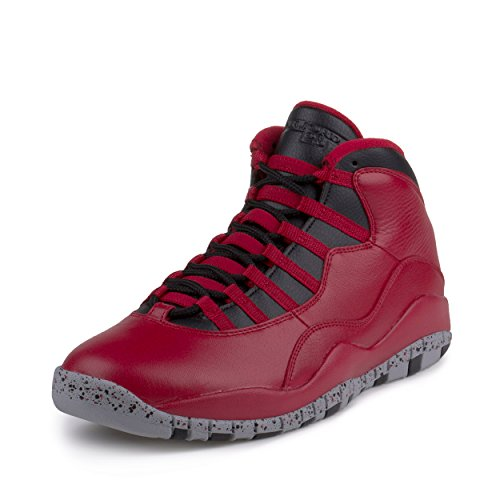 Nike Mens Air Jordan 10 Retro 30th ''Bulls over Broadway'' Gym Red-Black-Wolf Grey Leather Size 11 Basketball Shoes by NIKE