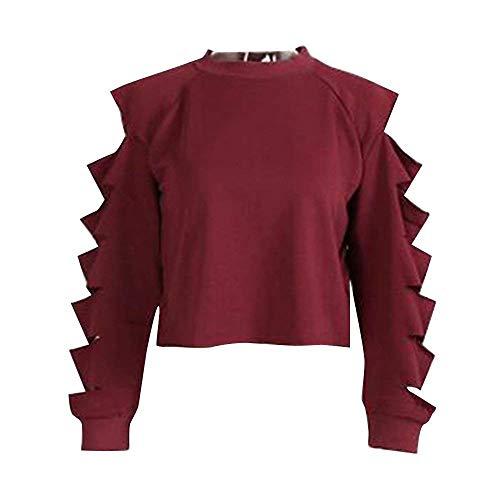 Winered Mujer Cortada Camiseta Sudadera Acentos Con Moda Hombros Para Descubiertos Fx0wf