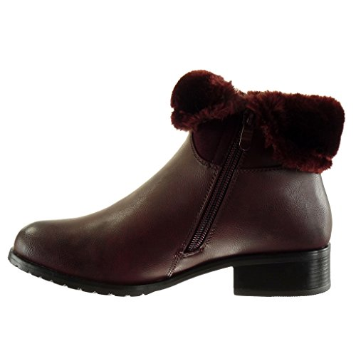 Fringe Wine Boots 5 Fur Women's Ankle cm Block Cavalier 3 Heel Zip High Fashion Angkorly Booty Shoes x8IUqH