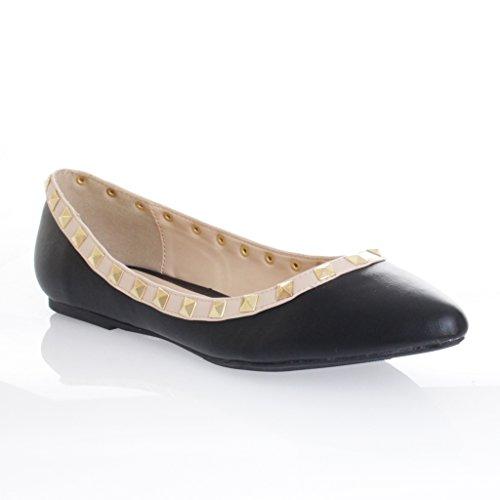Pointed PU Flats Black Toe Womens Studded Accent Diva Ballet 36 Wild zRIqaq