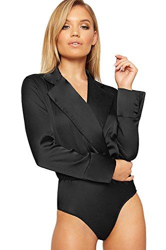 Black Satin Stretch Sleeveless Top (WearAll Women's Long Sleeve Plunge V-Neck Collar Satin Bodysuit Ladies Leotard Top - Black - US 4-6 (UK 8-10))