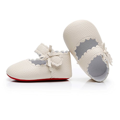 Girl Ballet Shoe Baby (HONGTEYA Infant Baby Girls Red Sole Ballet Dress Shoes Mary Jane Princess Soft Sole Frist Walkers Crib Moccasins (0-6 Months/US 3.5/4.33