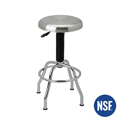 Seville Classics SHE18290B Stainless Steel Top Work Stool, Chrome