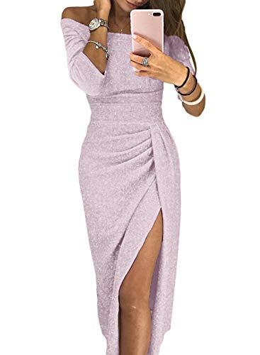 Happy Sailed Women Off The Shoulder Shiny Knit Ruched Split Elegant Formal Dress L Light Pink