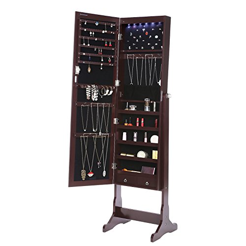 SONGMICS Lockable Jewelry Cabinet Standing Jewelry Armoire Organizer with Mirror LED Light,