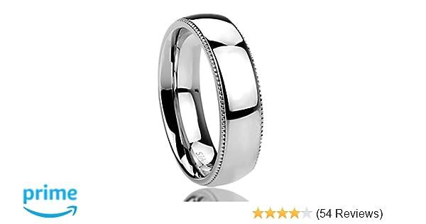 Men Women 6MM Stainless Steel Comfort Fit Milgrain Edged Wedding Band Ring