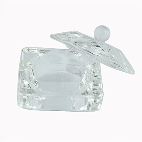 Crystal Clear Acrylic Liquid Powder Glass Dappen Dish Glass Cup w Cap Lid Bowl for Acrylic Nail Art Transparent (Cnd Crystal)