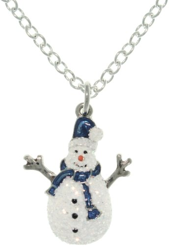 r Enamel Holiday Glittered Snowman Charm with 18 Inch Chain Necklace ()