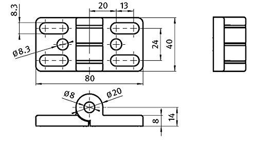 Typ I Scharnier 8 40 Zn Zinkdruckguss 40 x 80 mm mit Langl/öchern schwarz