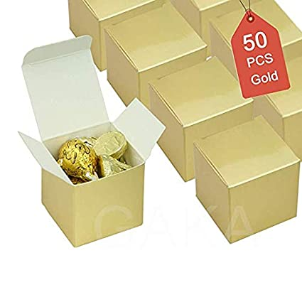Candy Boxes Gold Small Gift Boxes 2 X 2 X 2 Inch Set Of 50pc Square Paper Treat Boxes Party Favor Boxes For Wedding Bridal Shower Birthday Baby