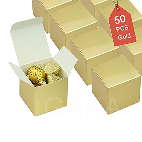 Candy Boxes Gold Small Gift Boxes 2 x 2 x 2 inch,Set of 50pc,Square Paper Treat Boxes Party Favor Boxes for Wedding,Bridal Shower,Birthday,Baby Shower,Anniversary,Holiday Celebration Party Supplies