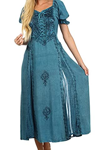 Sakkas 2100 - Sakkas Bridget Embroidered Renaissance Dress - Turquoise Blue - 3X/4X (Sakkas 3x)