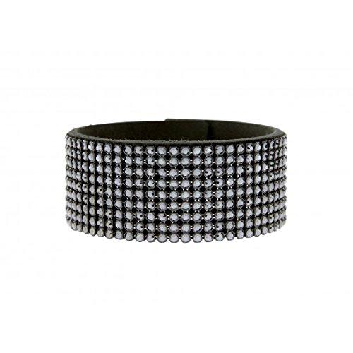 bracelet manchette en alcantara noir avec swarovski noir