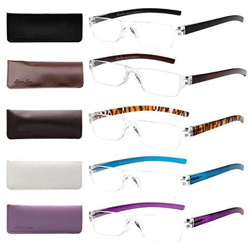Liansan Designer 5 Pairs Rimless Reading Glasses Comfort Prescription Eyeglasses -