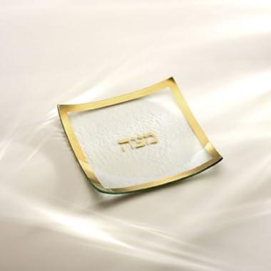 Judaica Gold Rimmed Matza Plate by Annieglass