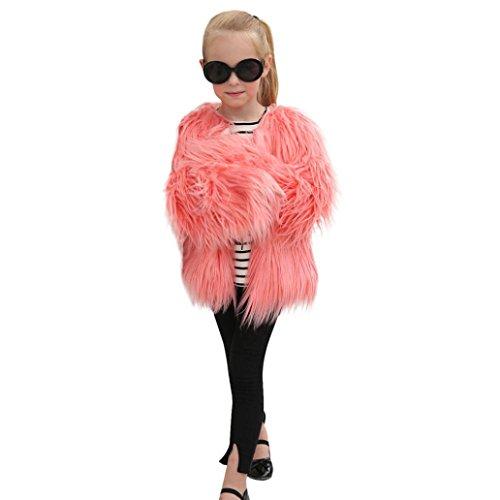 Tenworld Little Kids Girls' Outerwear Jacket Winter Long Sleeve Fluffy Faux Fur Warm Coat (8 Year, Pink)