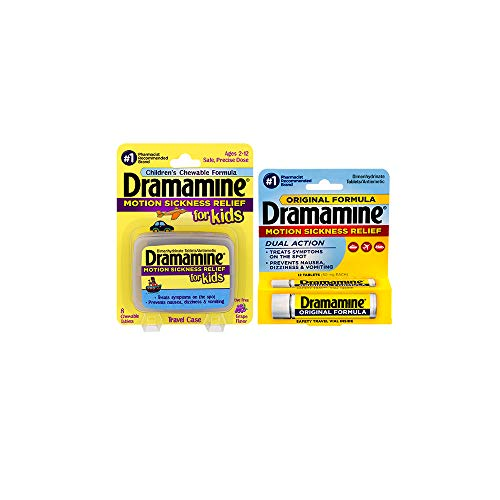 Dramamine Motion Sickness Family Pack | Kids Chewable Tablets & Original Formula