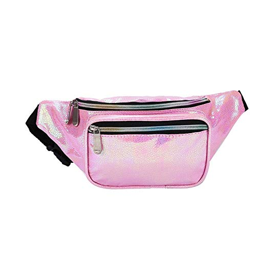 Holyami Fashion Holographic Fanny Pack for Women Men-Waterproof Travel Waist Packs Bum Purse Bags for Rave, Festival,Hiking (Pink Pearl) ()
