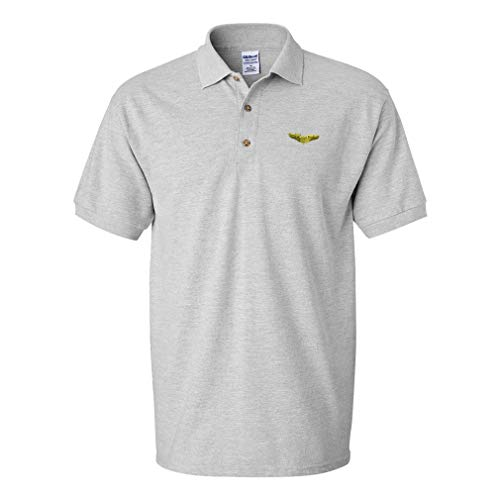 Polo Shirt Pilot Gold Embroidery Design Cotton Golf Shirt for Men Oxford Grey Large Design Only