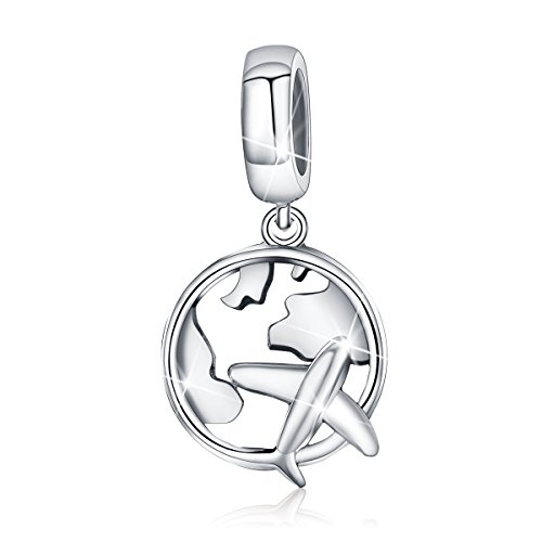BAMOER Charm 925 Sterling Silver Airplane Charms Pendant Fits European Charms Bracelet