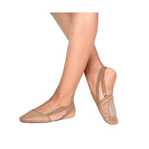 BAYSA Halbsohle Ballettschuh Frauen Tanz Paw Leder Tanzschuh Bräunen