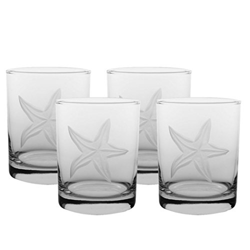 Rolf Glass 400006S/4 Starfish Double Old Fashioned Glass, Clear -