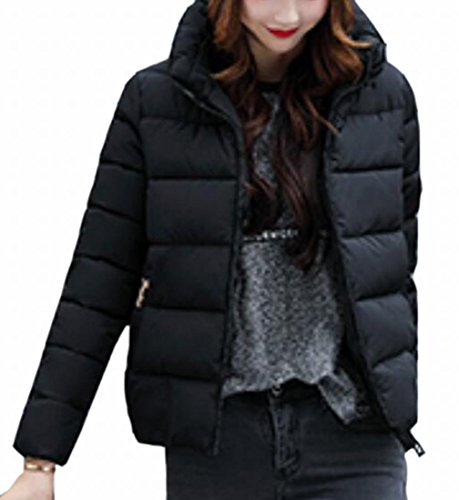 Zip Jacket Long TTYLLMAO Sleeve Coat Full Women's Black Collar Parka Stand qYnTxHn8