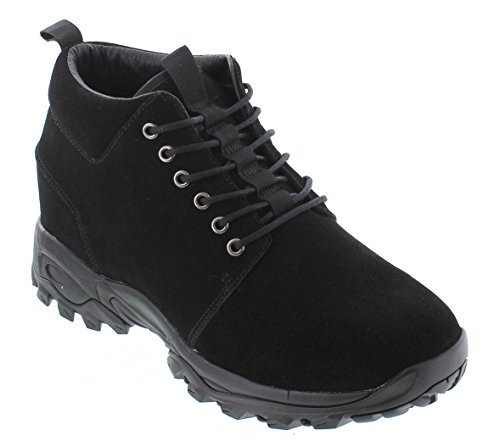 CALTO Men's Invisible Height Increasing Elevator Shoes - Black Suede Lace-up Hiking Boots - 3.2 Inches Taller - H7222 - Size 11 D(M) -