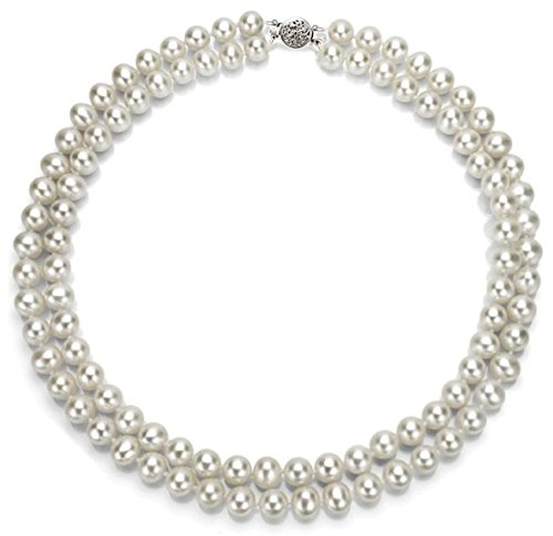 14k-White-Gold-2-rows-AAA-Hand-picked-White-Akoya-Cultured-Pearl-Round-clasp-Necklace-17