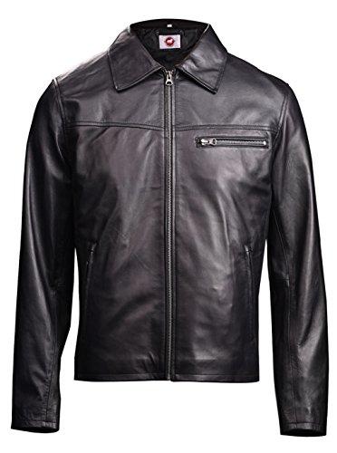 Takitop Noir Harrington Shirt Style Black Real Leather Jacket Men Regular Big & Tall
