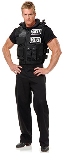 Swat Team Vest Adult Costume, One Size, (Swat Police Vest Costume)