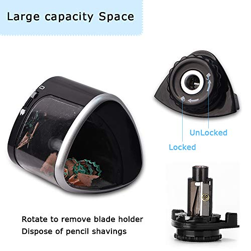 Electric Pencil Sharpener Battery Operated Automatic Pencil Sharpener with 1PC Replacement Blades, Manual and Electric Free to Switch, Anti-Slip, Black