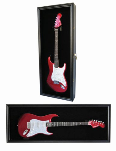Electric Guitar Display Case Cabinet Shadow Box with Hanger, Lockable UV Protection Door, BLACK Finish (GTAR2-BL-BL) (Best Di Box For Electric Guitar)