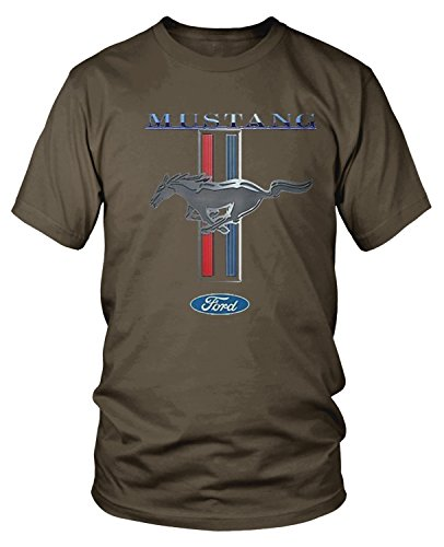 (Amdesco Men's Officially Licensed Ford Mustang Pony Emblem T-Shirt, Dark Chocolate Small)