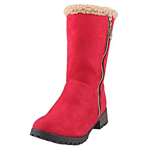 SJJH Women Half Boots with Low Heel and Zip Warm Women Boots with Large Size and 4-Colors Red