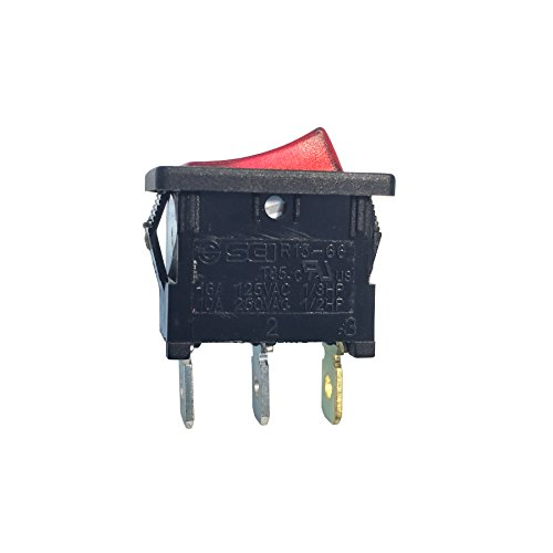Gardner Bender GSW-48  Electrical Mini-Rocker Switch, SPST, ON-OFF,  13 A/125V AC,  Spade Terminal,  Red Illuminated