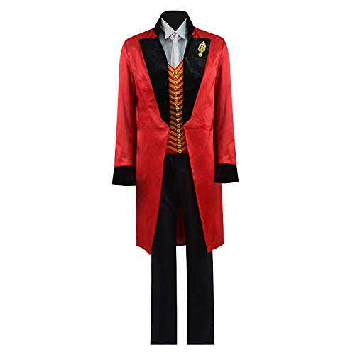 Greatest PT Barnum Cosplay Costume Performance Uniform Showman Party Suit (Medium, Red Black)]()