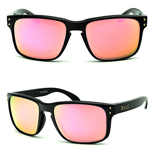 B.N.U.S Hipster Fashion Pink Flash Color Mirror glass polarized Lens Square Black Classic Sunglasses For Women (Frame: Black, Polarized Pink Flash)