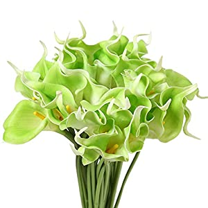 Memoirs- PU Calla Lily Flower Real Touch Wedding Flower Bouquet Artificial Silk Flowers for Home Party Decoration, color1,31PCS 4