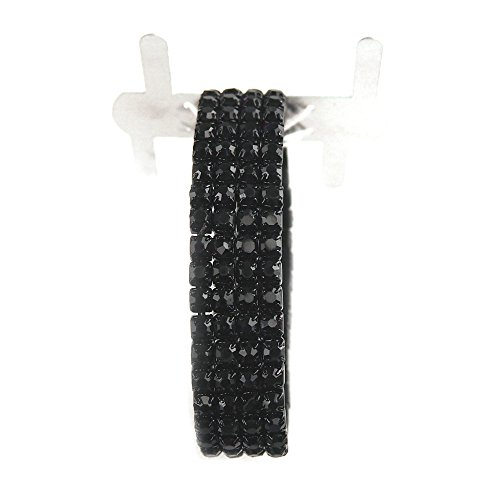 Corsage Wristlet with Rhinestone Band, 1-pack (Black) by Party Spin (Image #2)