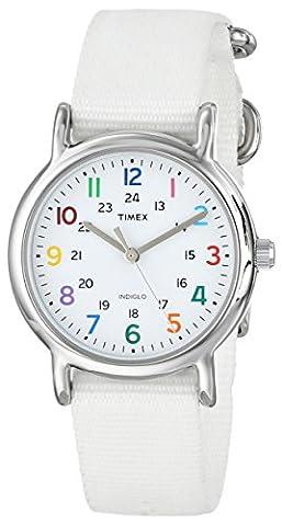 Timex Women's T2N837 Weekender White Nylon Slip-Thru Strap Watch - Timex Water Resistant Watch