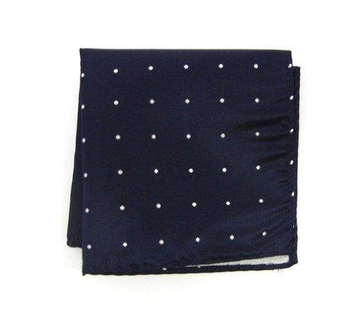The Tie Bar 100% Woven Silk Satin Dot Navy Pocket Square