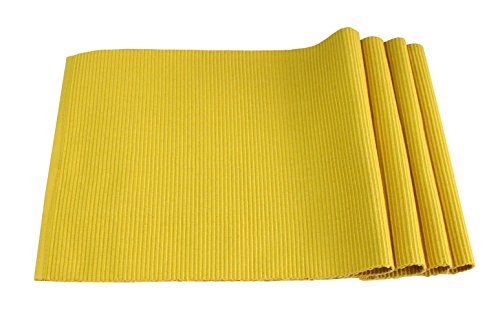 Best Token 4-piece 12″x18″ Placemats Kitchen Decoration Absorption Coasters Dining Table Mats Pad Heat-resistant (yellow)