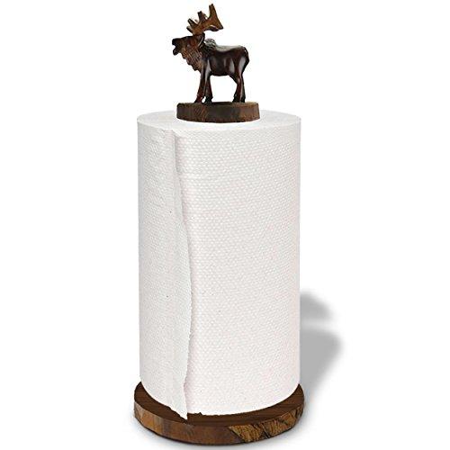 Elk Hand Carved Ironwood Paper Towel Holder - Lodge Decor