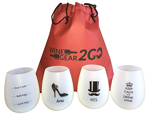 4 Wine Glasses Unbreakable W/Bag-Great Gift Food Grade Silicone Funny and Durable Shatterproof Stemless Great for Wine Beer Whiskey Cocktail any Beverage Outdoor Party Pool Camping Beach Very Funny