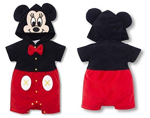 SOPO Mickey Mouse Baby Boys Hoodie Romper Short Sleeve Baby Bodysuit 7-24M