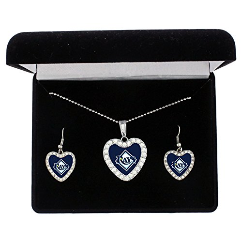 MLB Tampa Bay Rays Women's Crystal Heart Necklace and Earring Gift Set by Alyssa Milano, Silver